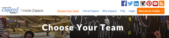 Screenshot  ZAPPOS web page, 'Insider FAQ' inviting potential applicants to become an 'Insider' and join a team. It's Zappos alternative to the 'careers'page on a company website.