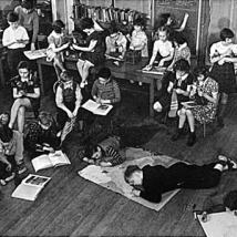 "Image of John Dewey's experiential classroom. Every school, as he wrote in ""The School and Society"", must become ""an embryonic community life, active with types of occupations that reflect the life of the larger society and permeated throughout with the spirit of art, history and science."""
