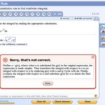 "Screen shot of Pearson's MyMathlab. Pearson's 'college in a box' concept — the textbook features a complete online course experience via its platform with interactive exercises, quizzes, immediate feedback, etc. ""Some are so advanced that they can simulate a physics experiment, engage a student in a developmental psychology exercise, or even run software that grades an 800-word essay"" (Kahn, 2014)."