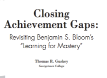 "Screen shot of paper (Guskey, 2007) describing Bloom's method of Mastery Learning. ""To use mastery learning, teachers first organize the concepts and skills they want students to learn into instructional units that typically involve approximately 1–2 weeks of instructional time. Following initial instruction on the unit, teachers administer a brief formative assessment based on the unit's learning goals."""