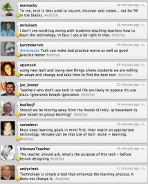 Screen shot of a Twitter Chat discussion. Twitter is used in both online and face-to-face classes as a tool to support active learning. A professor at UT Dallas documented an experiment using Twitter to engage students during lecture, described here: https://www.youtube.com/watch?v=6WPVWDkF7U8. Other ways to use Twitter, learn more http://www.onlinecolleges.net/50-ways-to-use-twitter-in-the-college-classroom/ (image from Dr Z. Reflects Blog http://drzreflects.blogspot.com/2014/03/r-u-following-education-twitter-chats.html